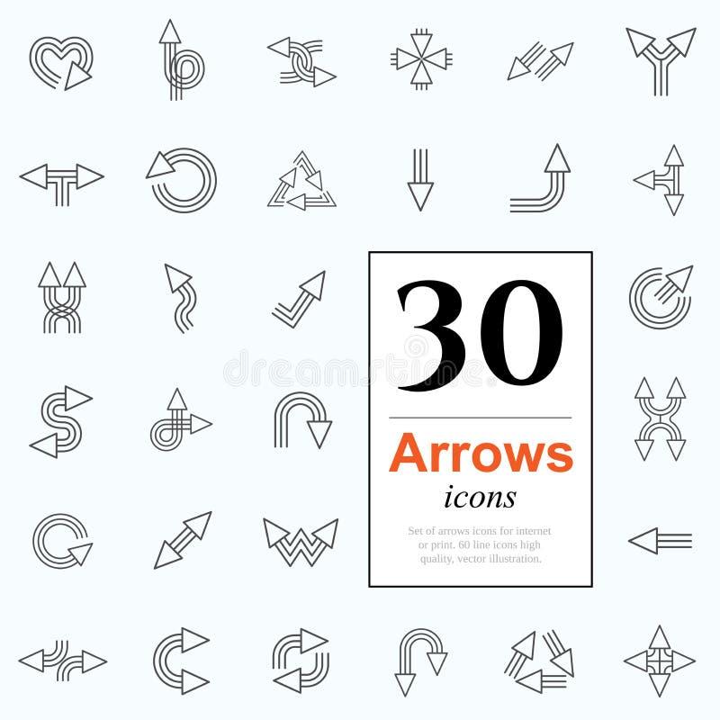 30 strzałkowatych ikon royalty ilustracja