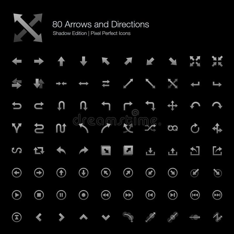 Strzały i kierunek ikon cienia piksel Doskonalić wydanie royalty ilustracja