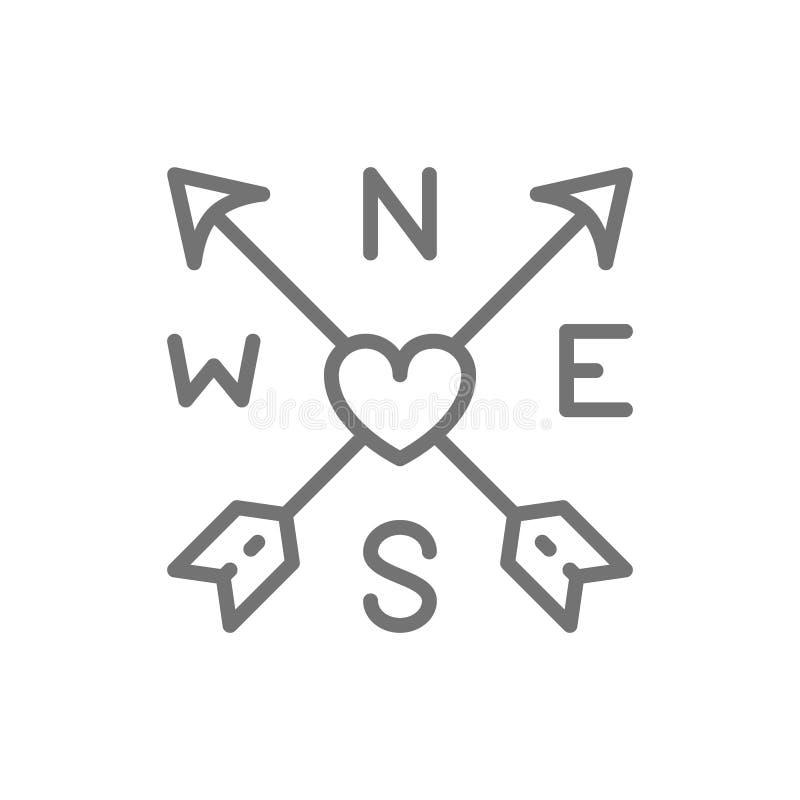 Strzały i serce, tatuażu nakreślenia linii ikona ilustracja wektor