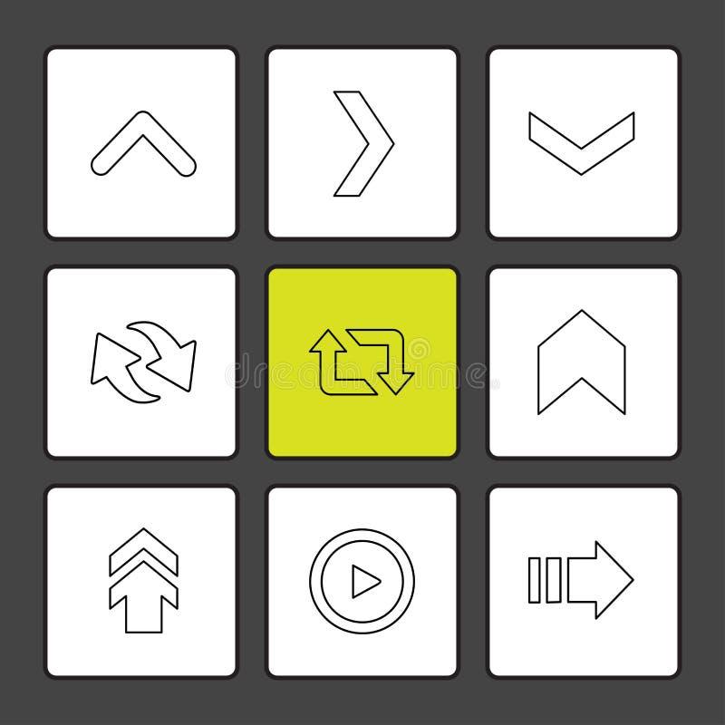 strzały, kierunki, pointer, strzała, interfejs użytkownika, strzała ilustracja wektor