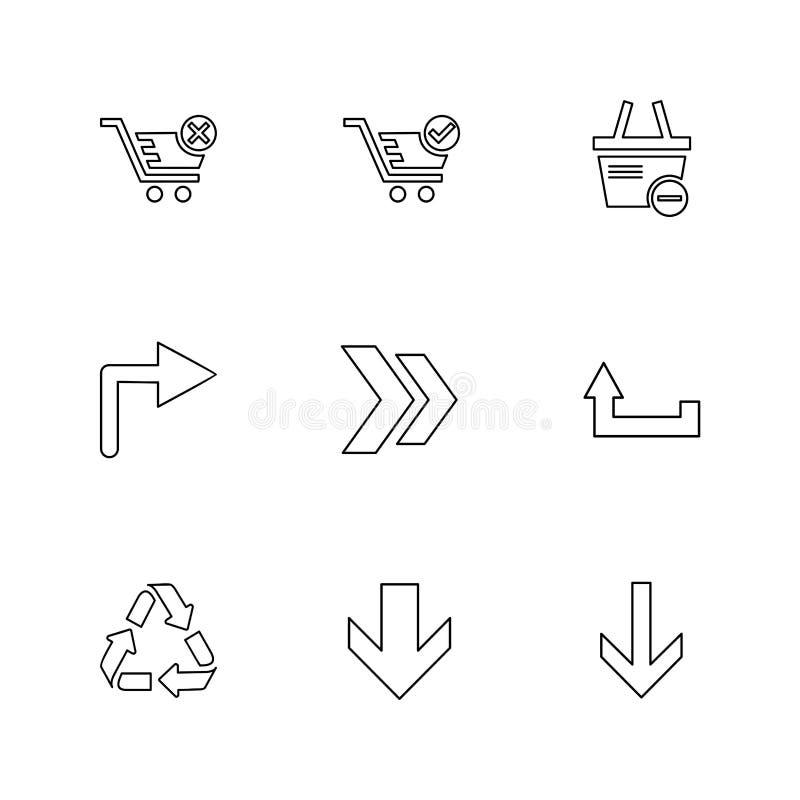 strzały, kierunki, pointer, strzała, interfejs użytkownika, strzała royalty ilustracja