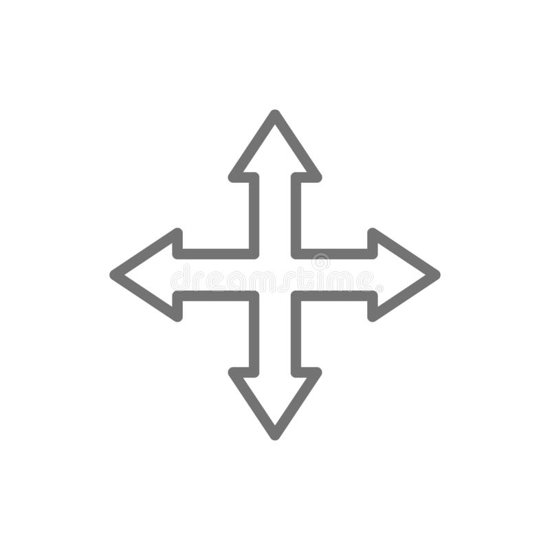 Strzały wskazuje w różnych kierunkach, cztery sposób, nawigacji kreskowa ikona royalty ilustracja