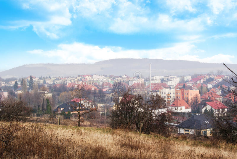 Strzegom, visión desde la colina de la cruz foto de archivo libre de regalías