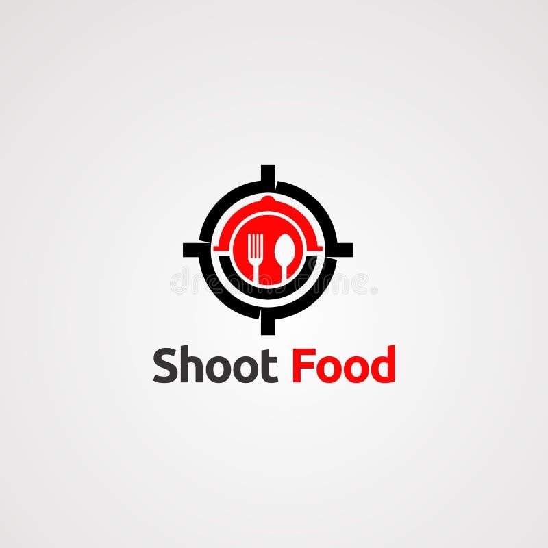 Strzela celu jedzenie z ?y?k? i rozwidla logo wektorowego poj?cie, ikon?, element i szablon dla firmy, royalty ilustracja