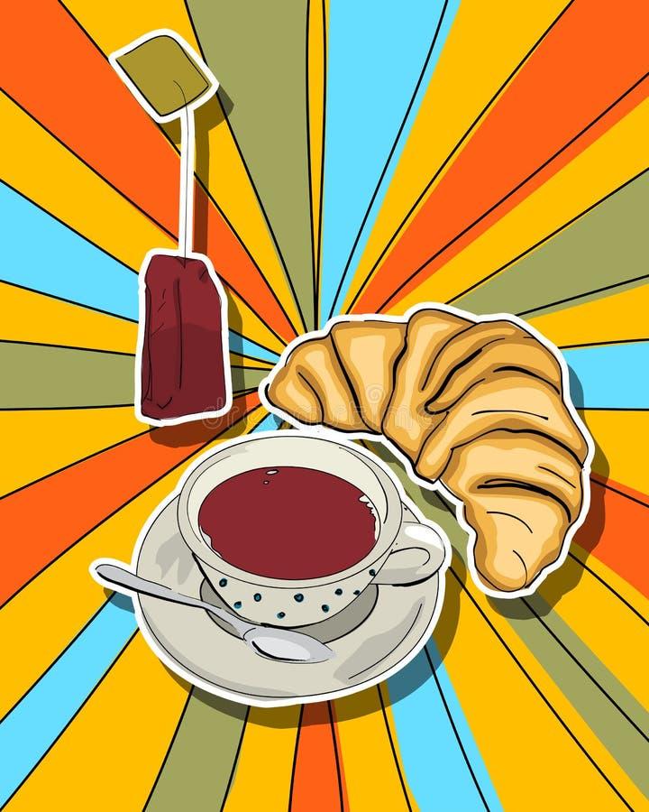 Strzela sztuki herbaty czas ilustracji