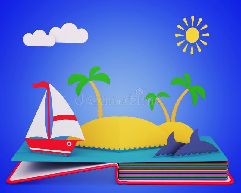 Strzela Up Książkowego Z jachtem I Tropikalną wyspą W oceanie ilustracja wektor