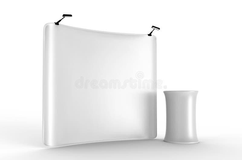Strzela Up Wklęsłego napięcie tkaniny pokazu z Pustą Białą skóry tła ścianą ilustracja 3 d, ilustracja wektor