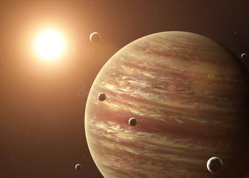Strzelający Jupiter brać od otwartej przestrzeni kolaż ilustracja wektor