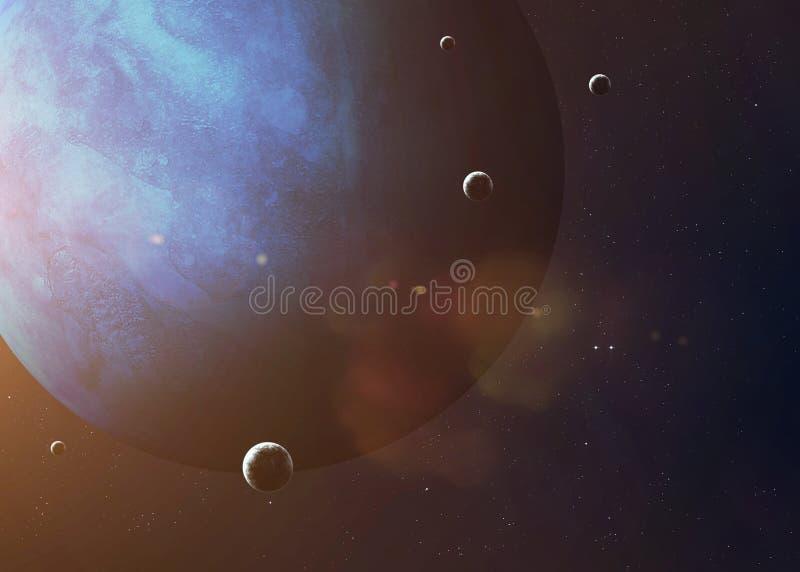 Strzelający Neptune brać od otwartej przestrzeni kolaż obraz stock