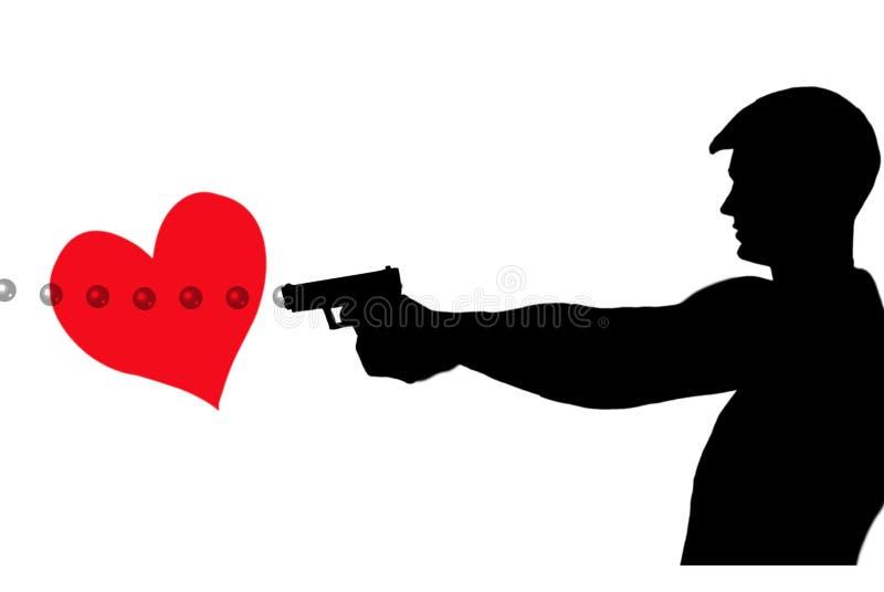 Strzelający przez serca ilustracja wektor