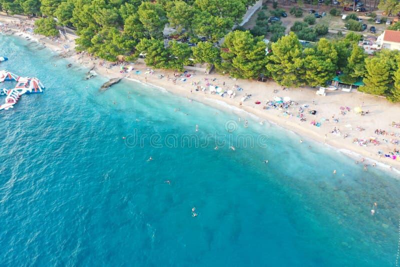 Strzelanina powietrzna osób cieszących się plażą w pobliżu drzew w Makarskiej, Chorwacja obrazy stock