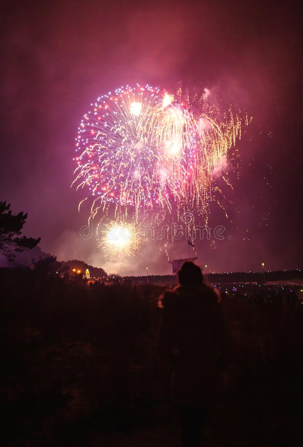 Strzelanina z niskiego kąta na piękne fajerwerki na wielką uroczystość w nocy obraz royalty free