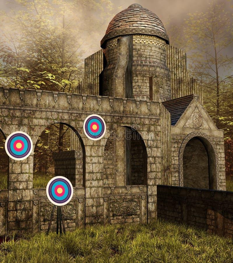 Strzelaniny średniowieczny miejsce ilustracja wektor