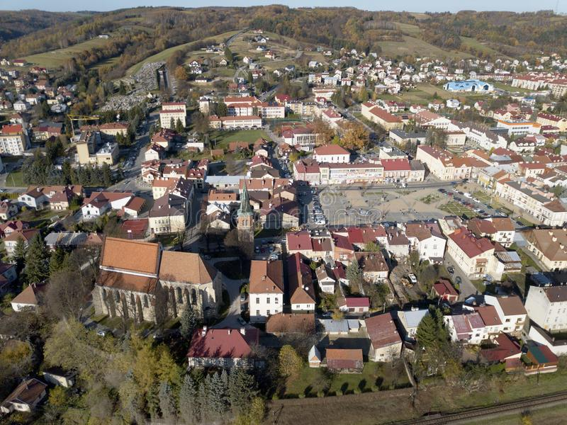 Strzyzow, Poland - 9 9 2018: Photograph of the old part of a small town from a bird`s flight. Aerial photography by drone or quadr royalty free stock photography
