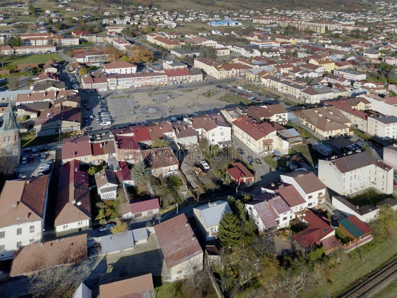 Strzyzow, Poland - 9 9 2018: Photograph of the old part of a small town from a bird`s flight. Aerial photography by drone or quadr stock image