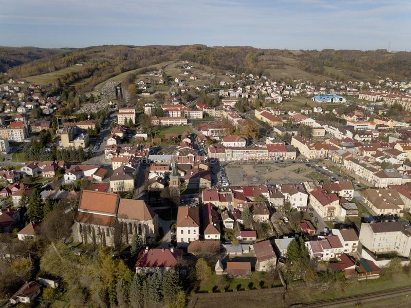 Strzyzow, Poland - 9 9 2018: Photograph of the old part of a small town from a bird`s flight. Aerial photography by drone or quadr royalty free stock photo