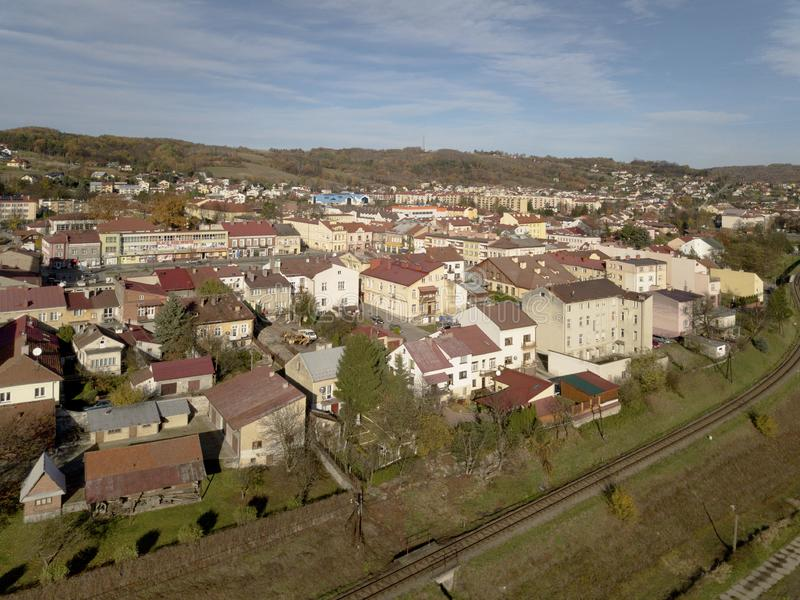 Strzyzow, Poland - 9 9 2018: Photograph of the old part of a small town from a bird`s flight. Aerial photography by drone or quadr royalty free stock images