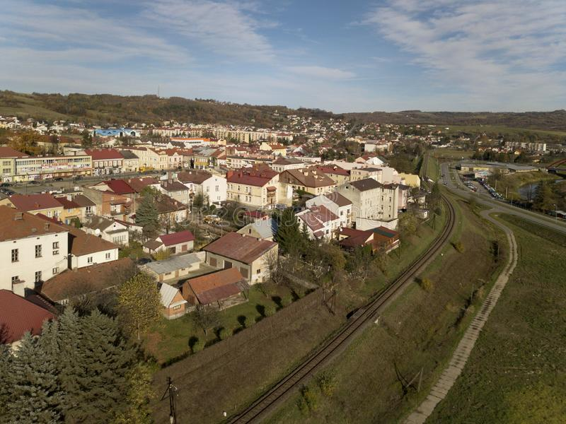 Strzyzow, Poland - 9 9 2018: Photograph of the old part of a small town from a bird`s flight. Aerial photography by drone or quadr royalty free stock image
