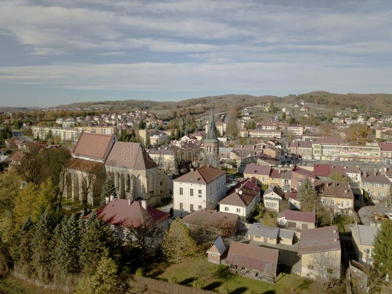 Strzyzow, Poland - 9 9 2018: Photograph of the old part of a small town from a bird`s flight. Aerial photography by drone or quadr royalty free stock photos