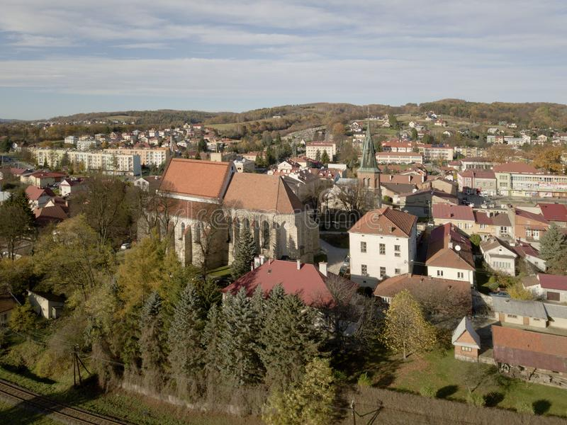 Strzyzow, Poland - 9 9 2018: Photograph of the old part of a small town from a bird`s flight. Aerial photography by drone or quadr stock photography