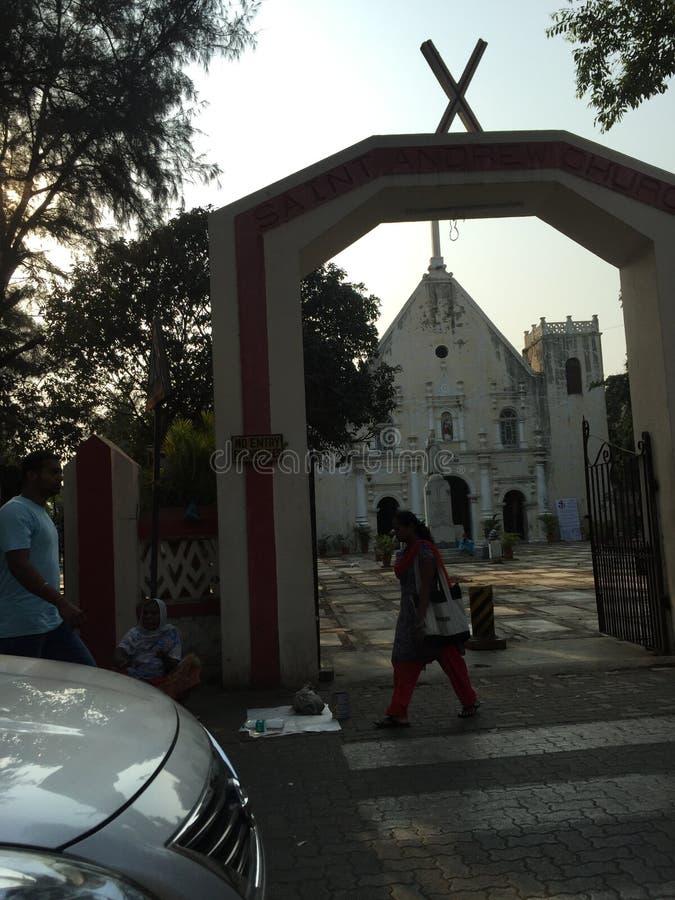 Sts Andrew kyrka Bandra, portugisisk arkitektur fotografering för bildbyråer