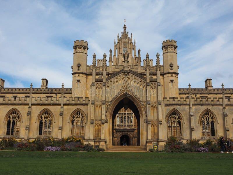 Sts John ny domstol för högskola i Cambridge arkivbilder
