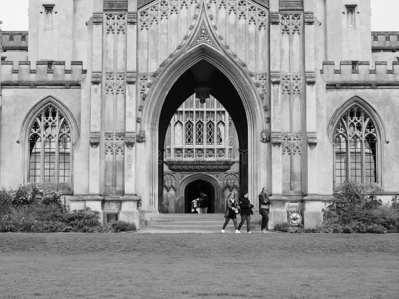 Sts John ny domstol för högskola i Cambridge i svartvitt royaltyfria foton