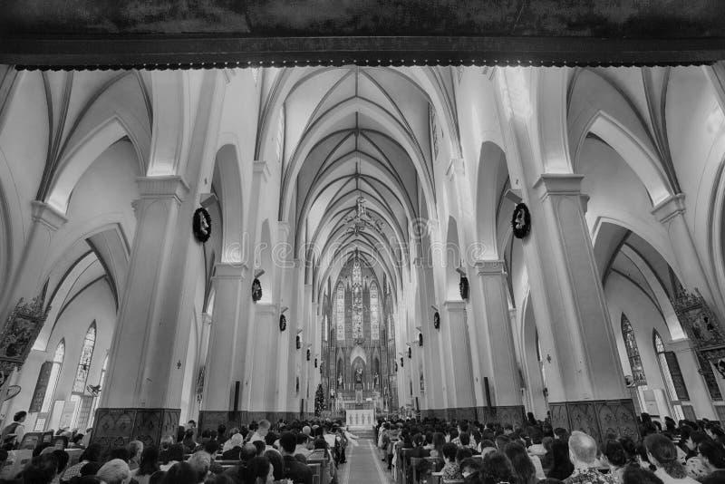 Sts Joseph domkyrka är en kyrka på den Nha Tho gatan i Hanoi, Vietnam arkivfoton
