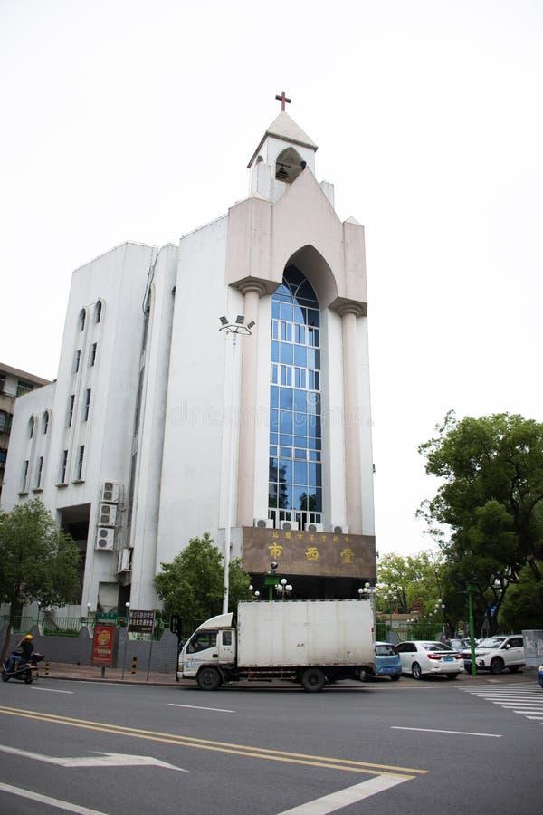 Sts Joseph domkyrka av Shantou och Christian Church Grace Church för kinesiskt och utländskt folkbesök på i stadens centrum Shant arkivbilder