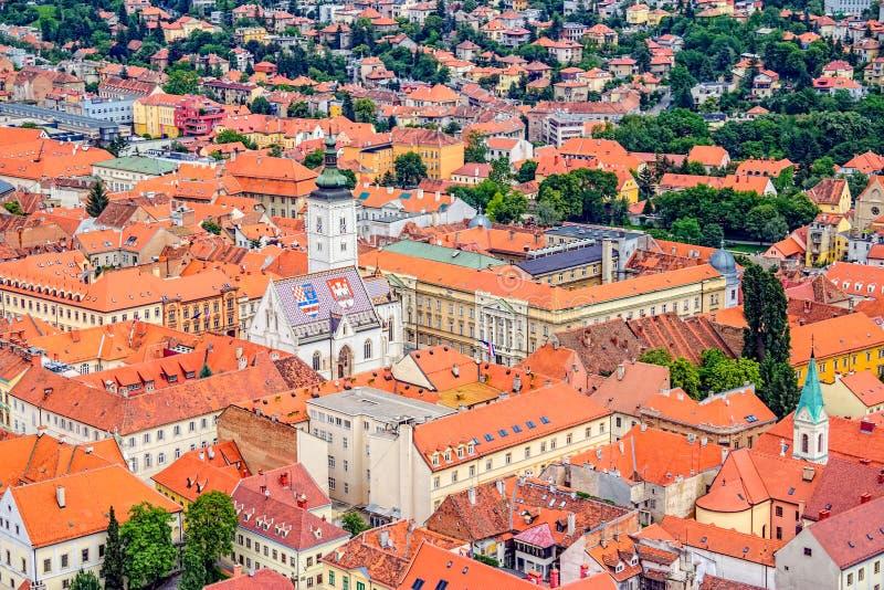 Sts Mark kyrkliga Zagreb royaltyfria foton
