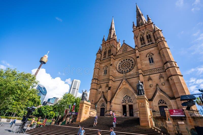 Sts Mary sikt för bred vinkel för domkyrka främre och Sydney tornöga i Sydney NSW Australien fotografering för bildbyråer
