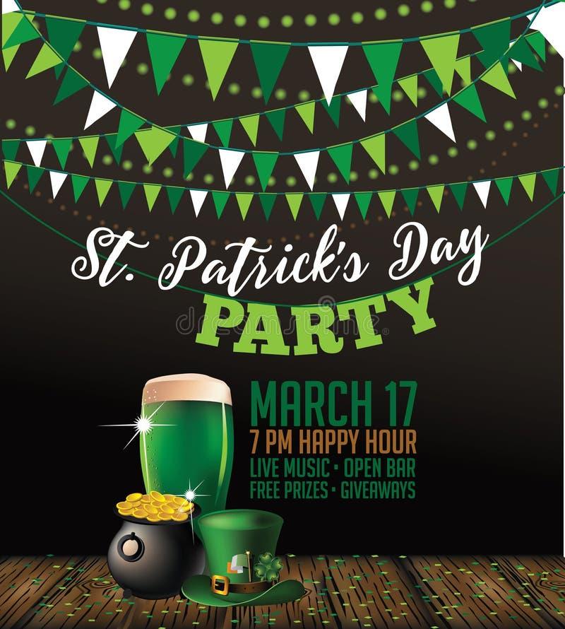 Sts Patrick affisch för inbjudan för dagparti vektor illustrationer