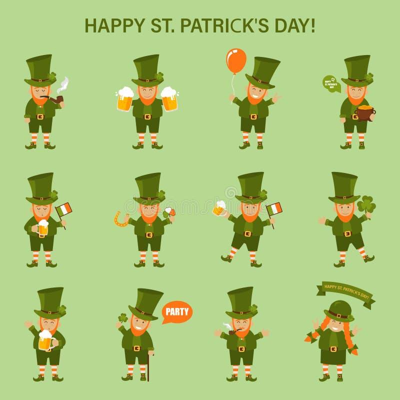 Sts Patrick dag, gnomer och traditionella beståndsdelar: hatt, kruka av guld, lampglas, hästsko, växt av släktet Trifolium, öl oc vektor illustrationer