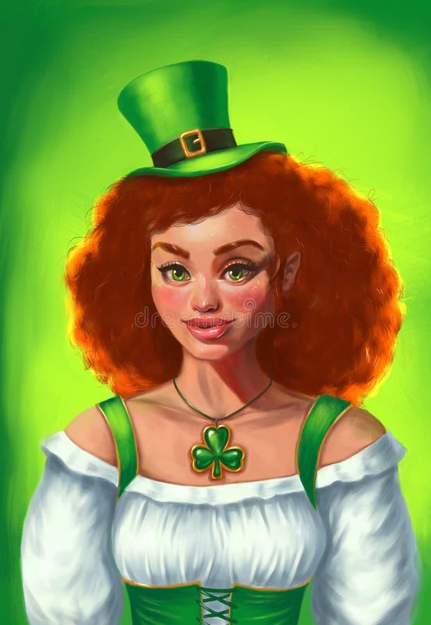 Sts Patrick dagflicka i grön dräkt Gladlynt härlig irländsk ung kvinna stock illustrationer
