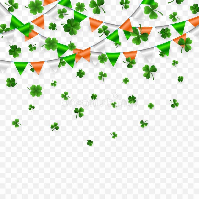 Sts Patrick daggränsen med gröna fyra och trädet 3D spricker ut växter av släktet Trifolium med flaggagirlanden på vit bakgrund I royaltyfri illustrationer