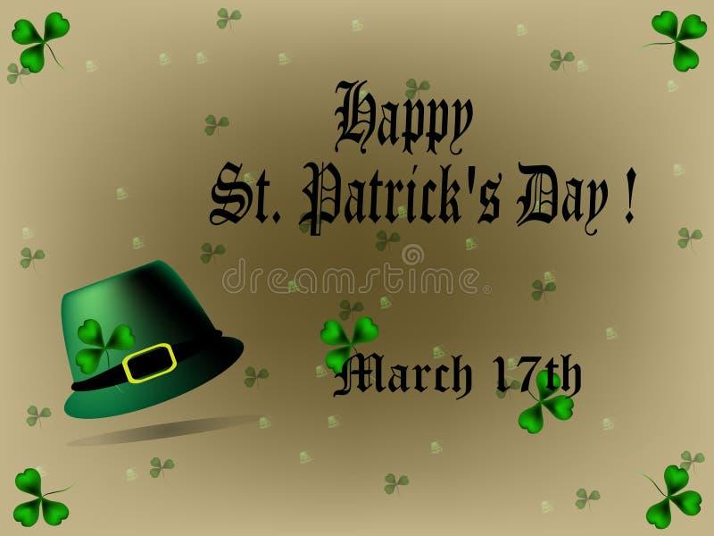 Sts Patrick daghälsning stock illustrationer