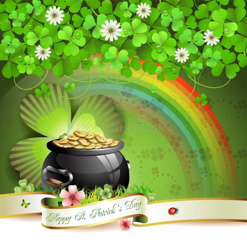 Sts Patrick dagkort stock illustrationer