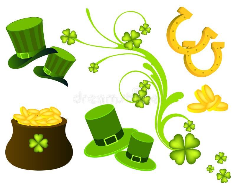 Sts Patrick dagsymboler royaltyfri illustrationer