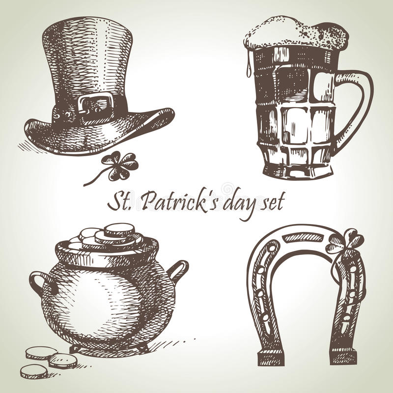Sts Patrick daguppsättning royaltyfri illustrationer