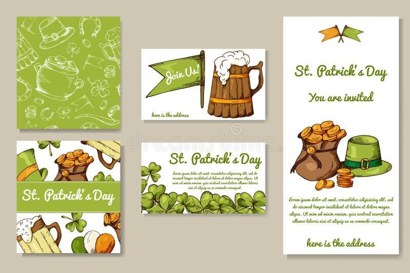 Sts Patrick daguppsättning av kort med hand drog beståndsdelar Vektorillustrationen med skissar objekt för din design vektor illustrationer