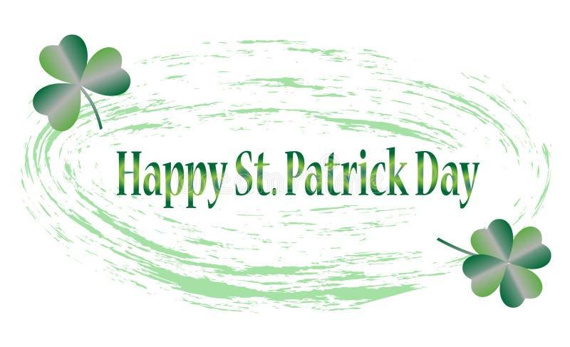 Sts Patrick kort för daghälsning med lyckliga bokstäver, illustration - vektor fotografering för bildbyråer