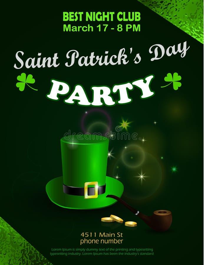 Sts Patrick stolpe för inbjudan för grönt parti för dag vektor illustrationer