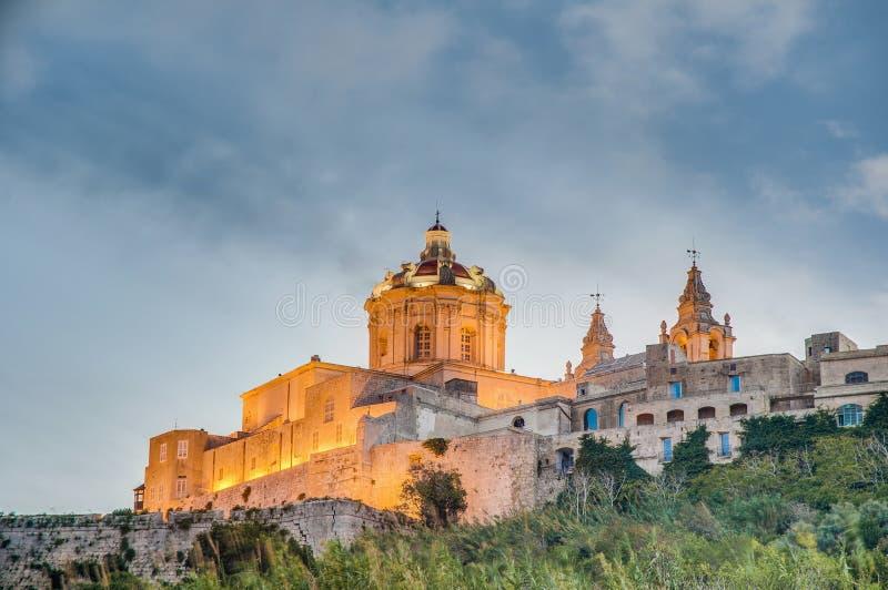 Sts Paul domkyrka i Mdina, Malta fotografering för bildbyråer