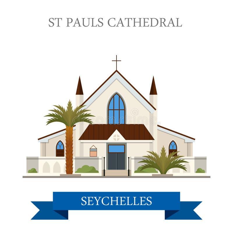 Sts Paul domkyrkaVictoria Seychelles Flat histo royaltyfri illustrationer