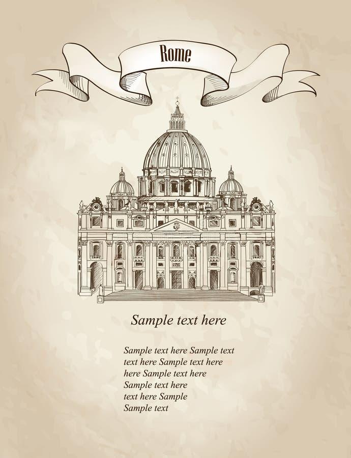 Sts Peter domkyrka, Rome, Italien LoppVaticat retro tapet vektor illustrationer