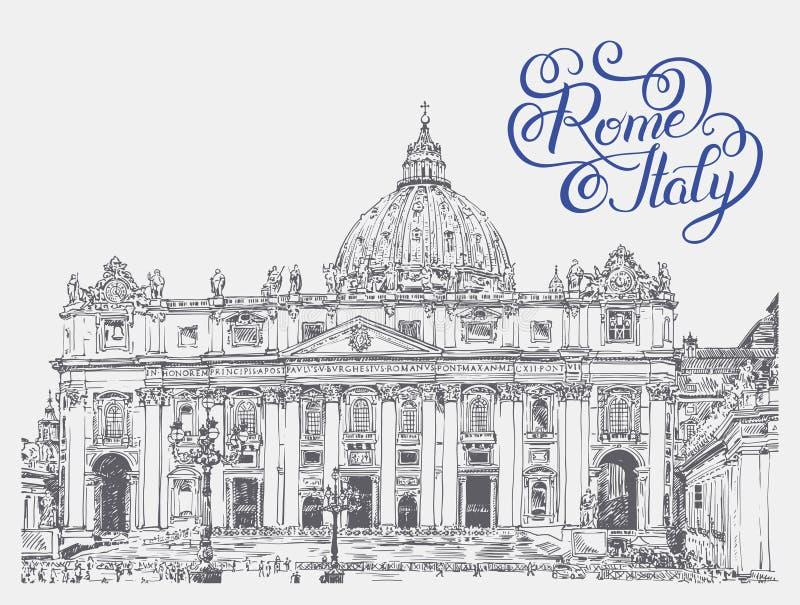 Sts Peter domkyrka, Vaticanen med original- handbokstäverinsc stock illustrationer