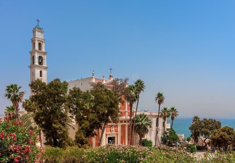 Sts Peter kyrka i Jaffa, Israel. arkivbild