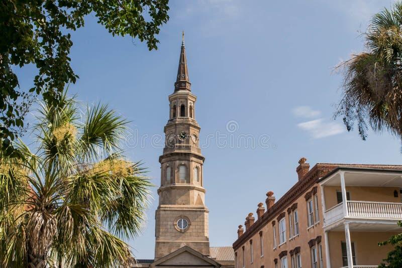 Sts Philip kyrkliga kyrktorn, charleston, South Carolina arkivbild