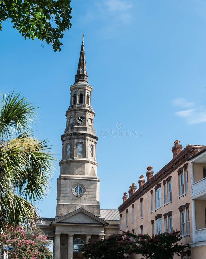 Sts Philip kyrkliga kyrktorn, charleston, South Carolina arkivfoto