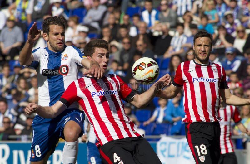 Stuani del RCD Espanyol y Laporte de atlético Bilbao imagen de archivo